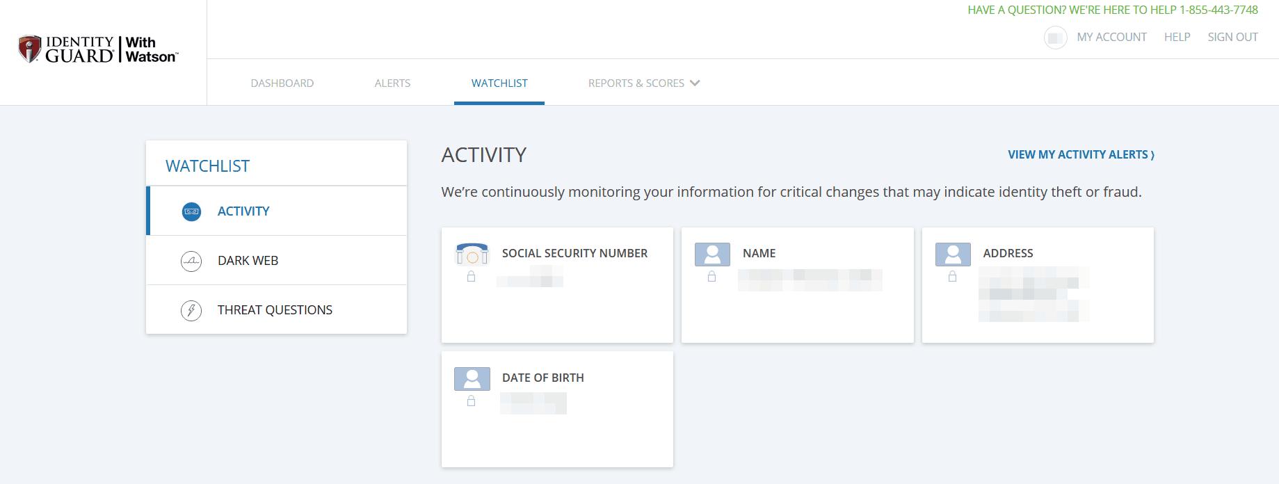 Identity Guard Watchlist Screen
