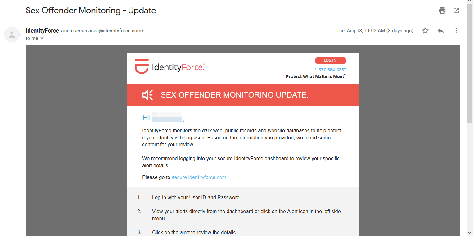IdentityForce - Email Monitoring Alert