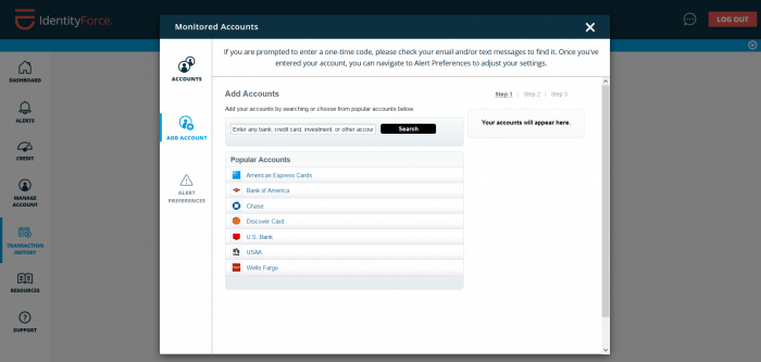 IdentityForce - Monitor Accounts Section