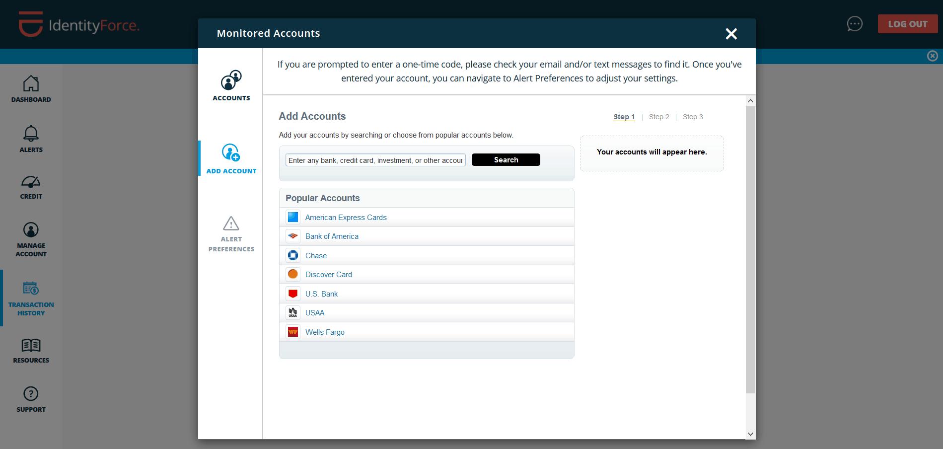 IdentityForce - Monitored Accounts