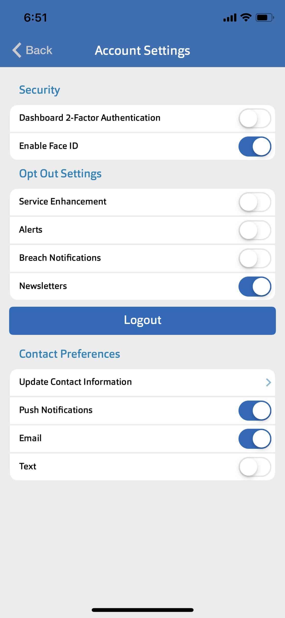 ID Watchdog - App Account Settings
