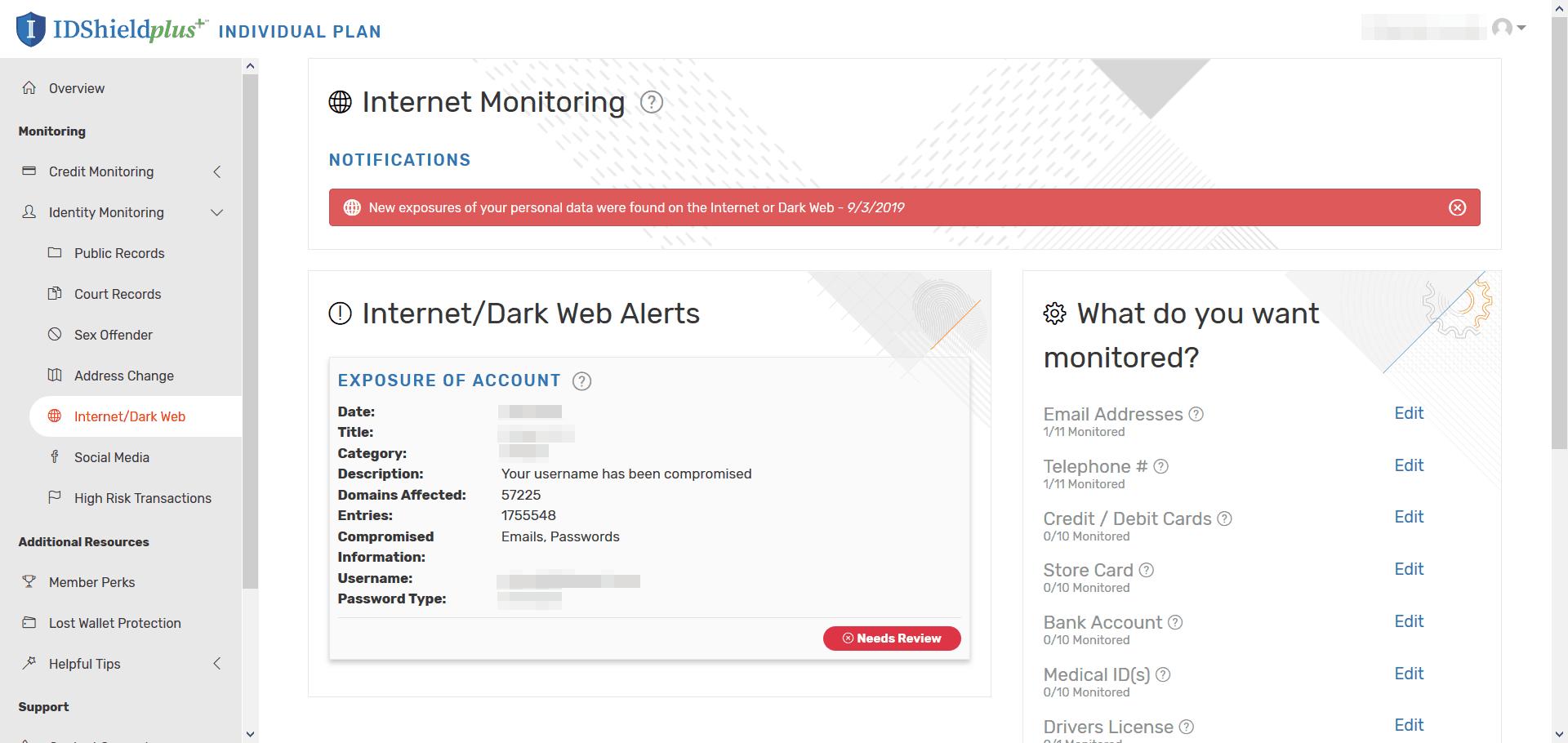 IDShield - Internet Dark Web Alerts