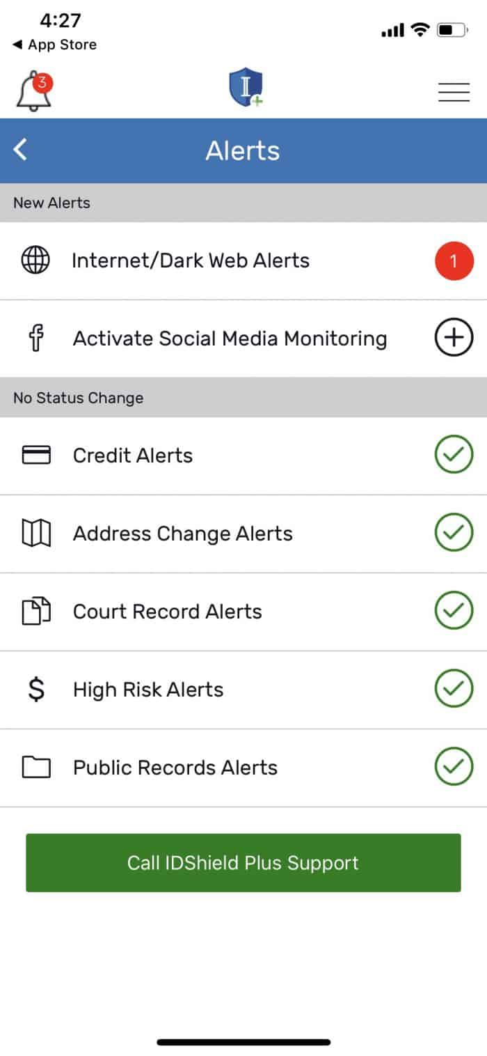 IDShield Mobile App Alerts Page