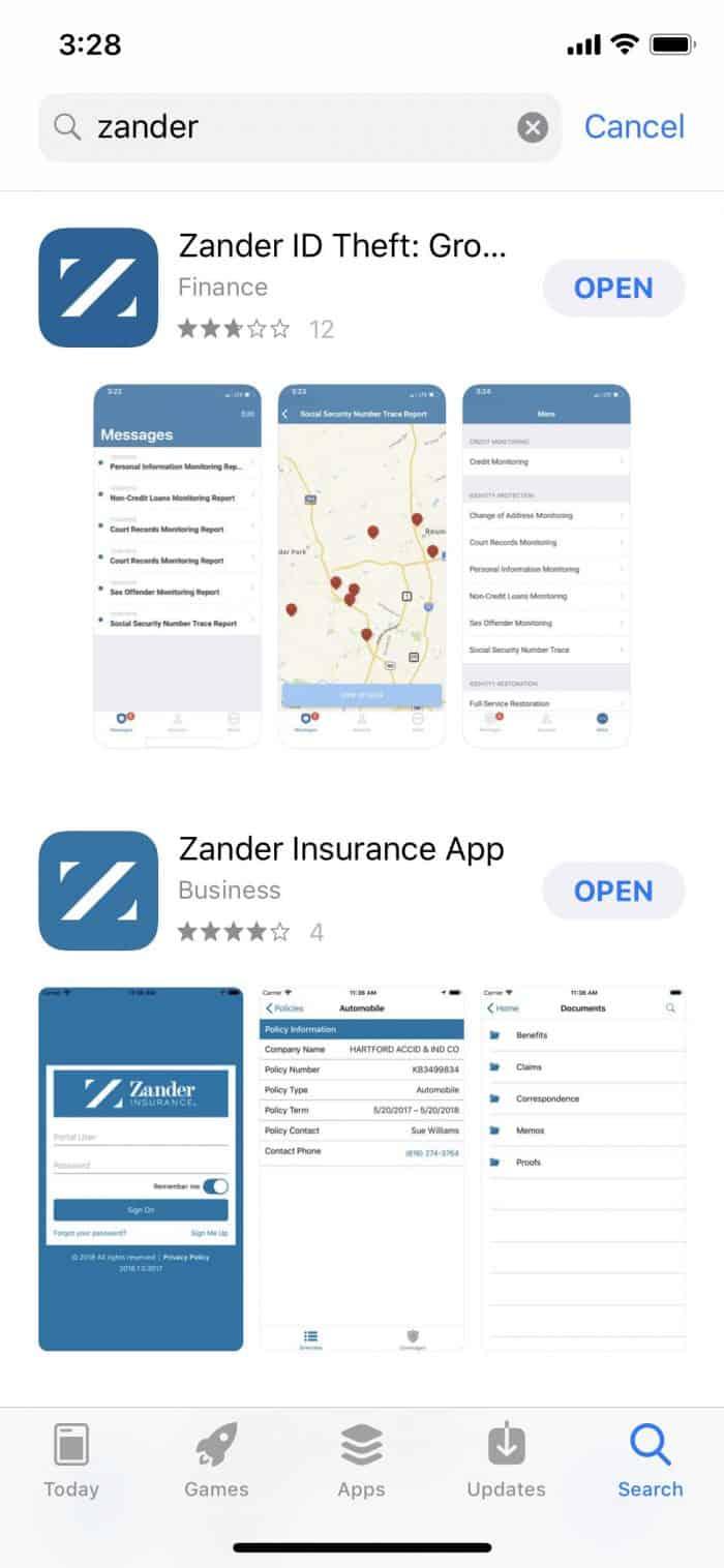 Zander Insurance Mobile App Search