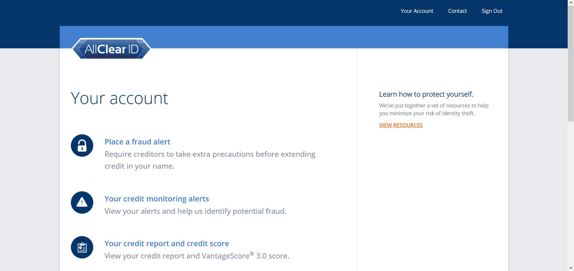 AllClear ID Dashboard