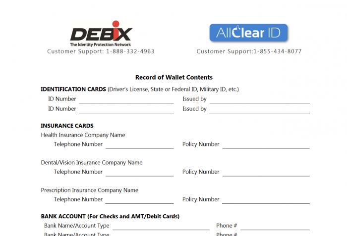 AllClear ID Lost Wallet Form