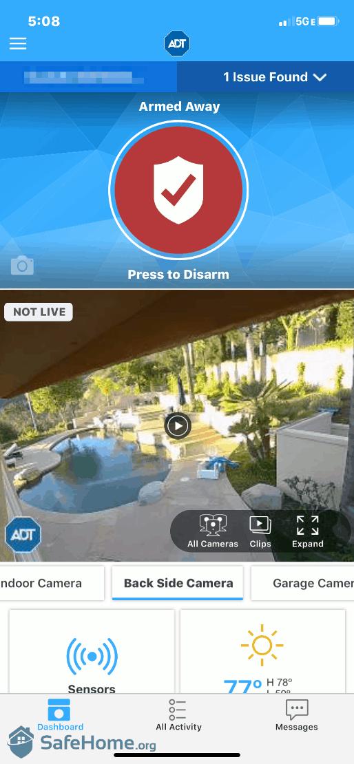 ADT App Camera View Backyard