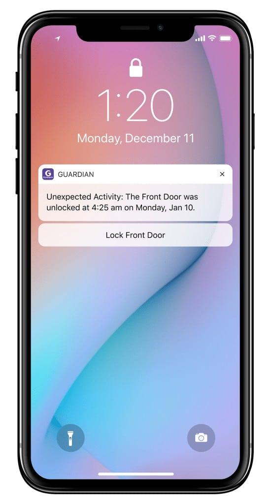 Guardian Protection Mobile App Alert