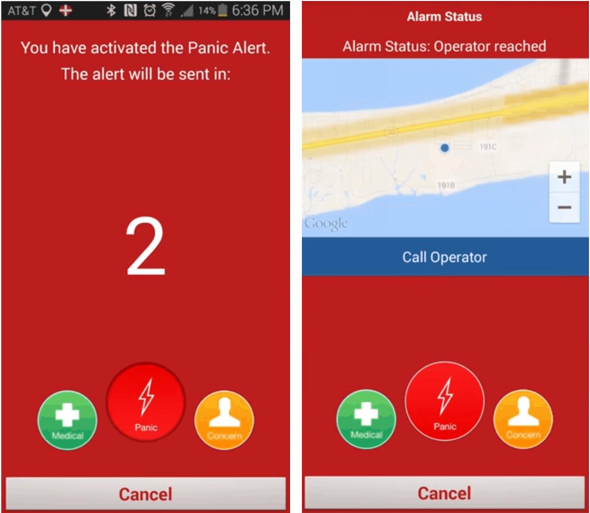 LifeFone Panic Alert Mobile App Screenshots