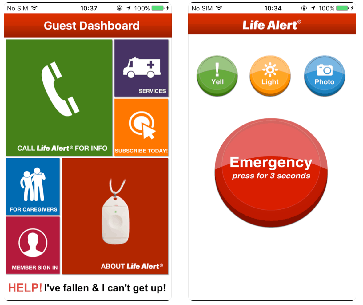 Life Alert Mobile App Screenshots