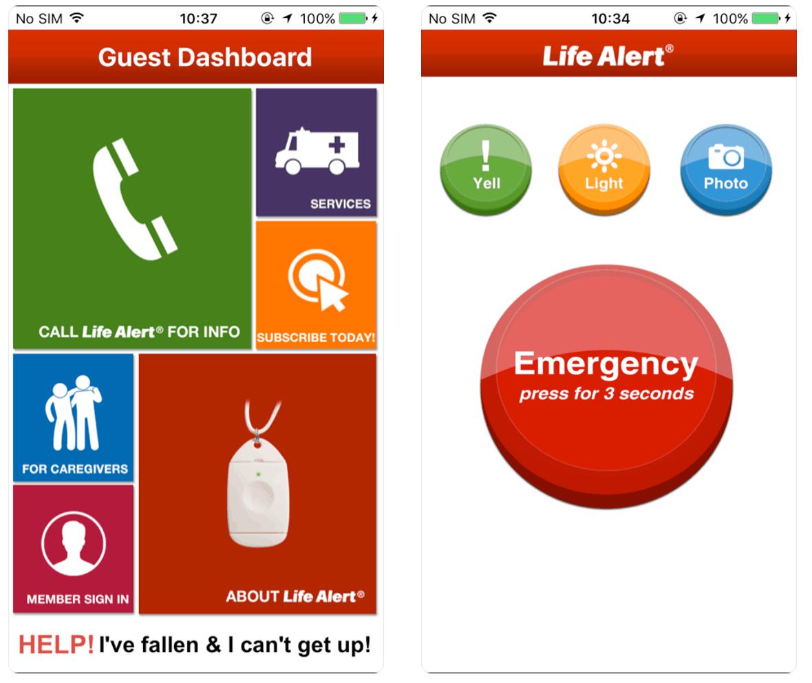 Life Alert Mobile App Screenshots