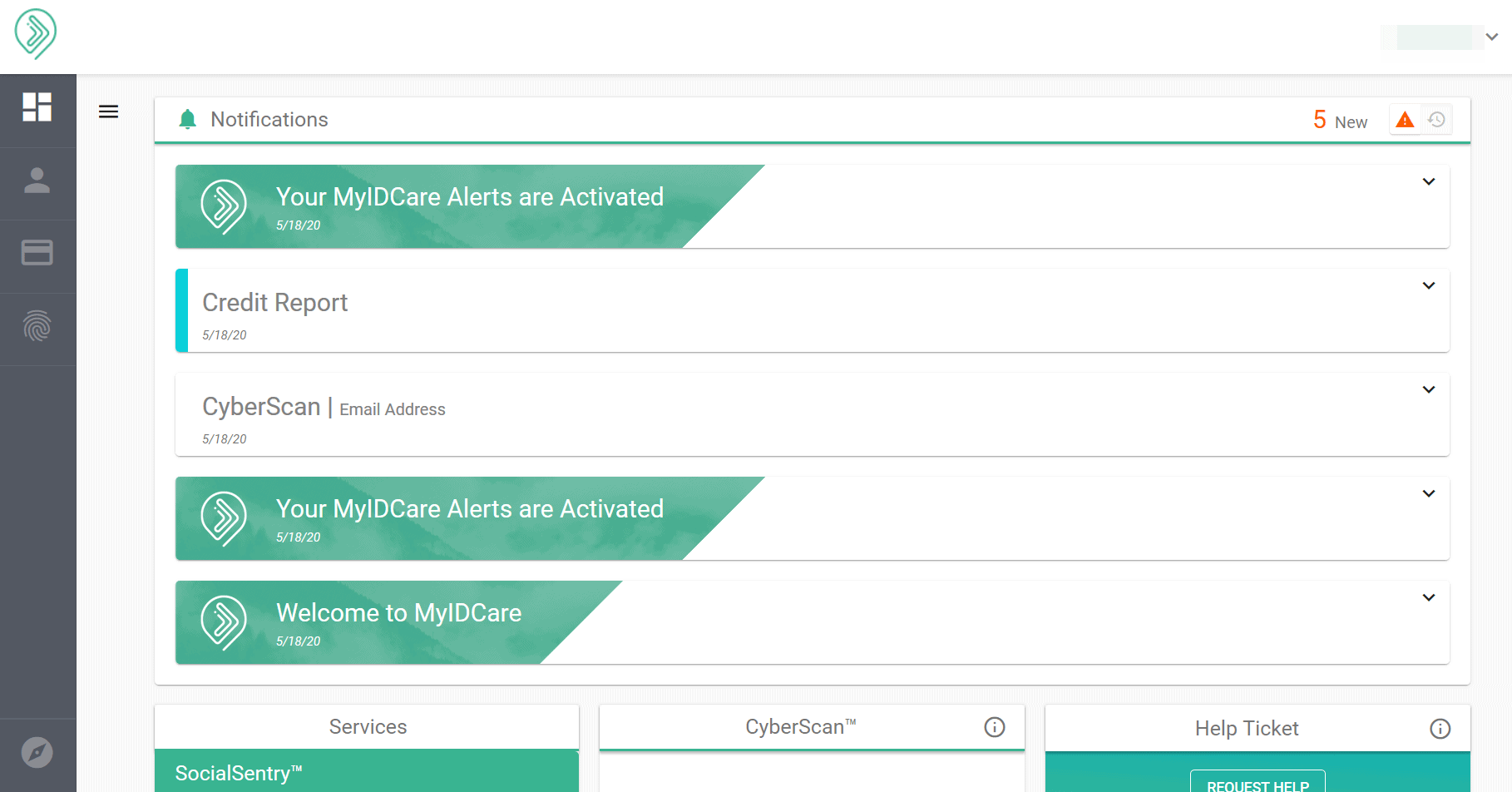 MyIDCare - Main Notifications Screen