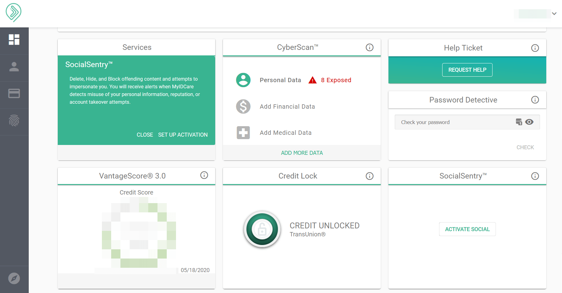 MyIDCare - Main Screen Overview