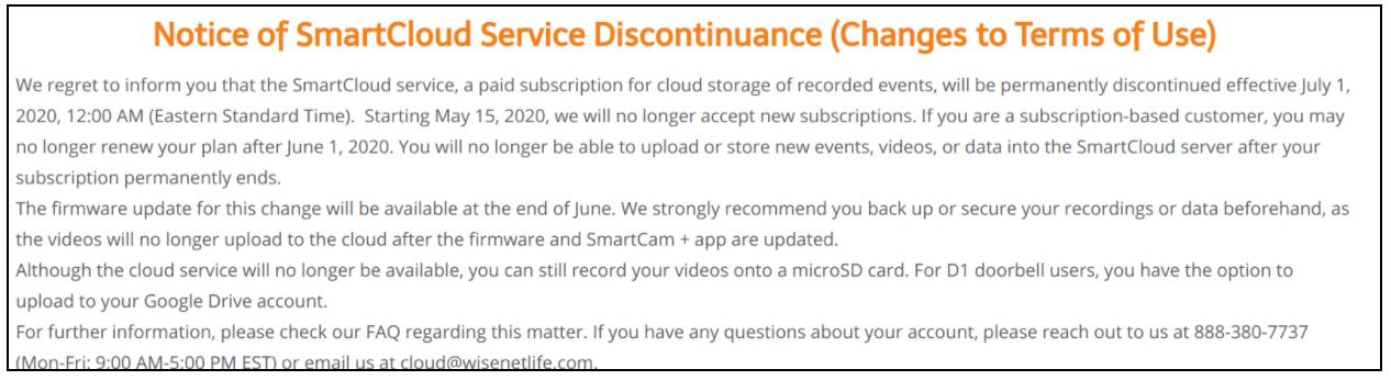 Notice of SmartCloud Discontinuance