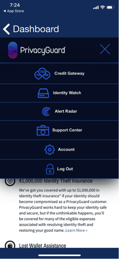 PrivacyGuard Dashboard Drop Down Menu