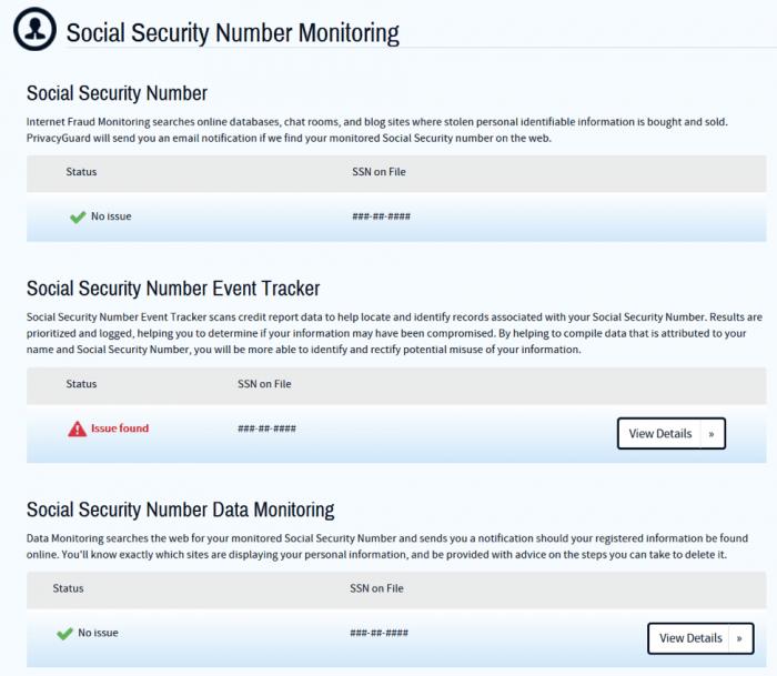 PrivacyGuard Social Security Monitoring