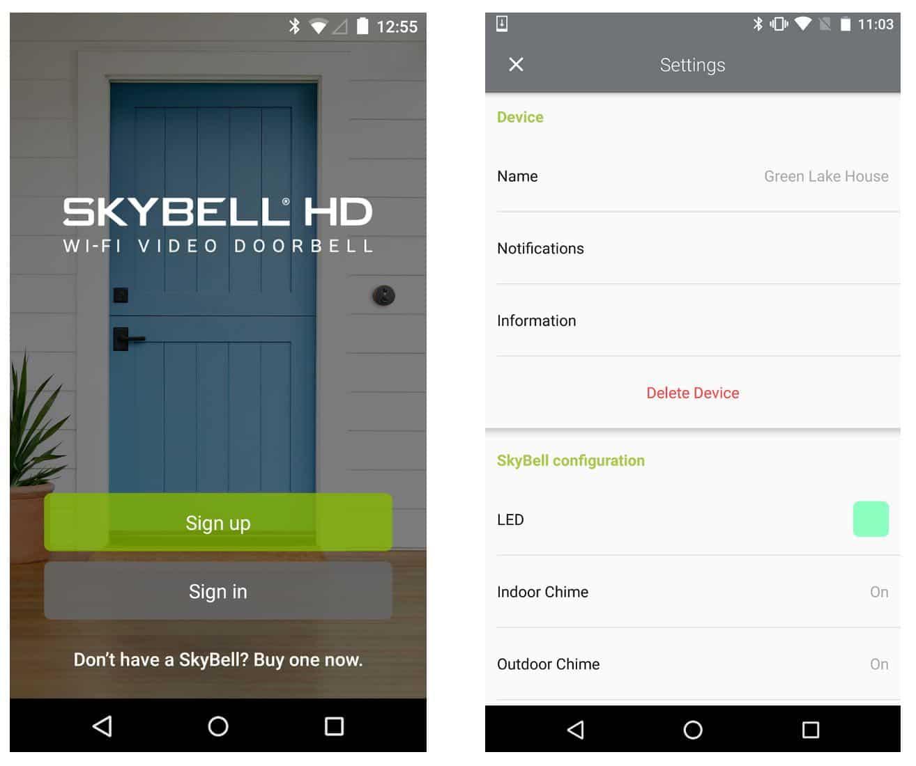 Skybell Smartphone App Controls