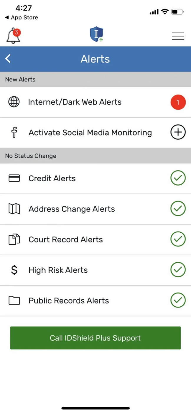 IDShield - Mobile App Alerts