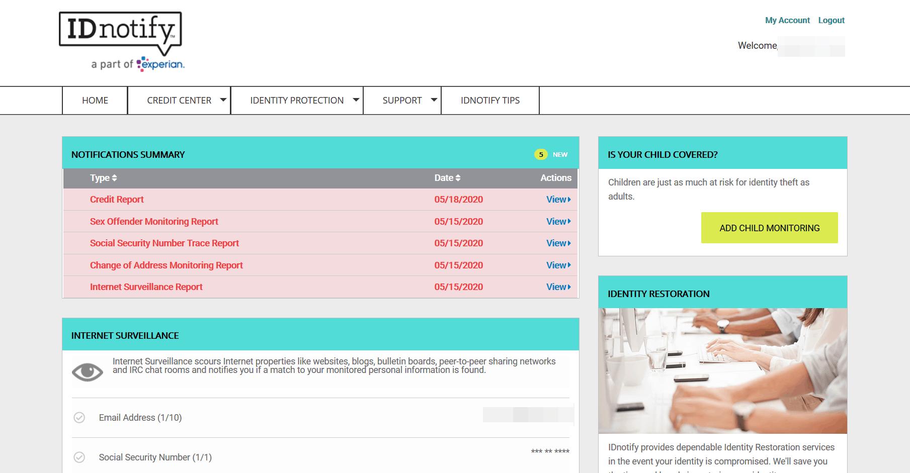 IDnotify - Main Alerts Page