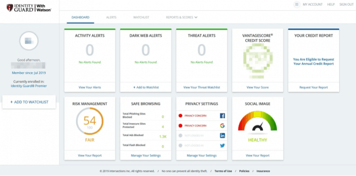 Identity Guard Dashboard