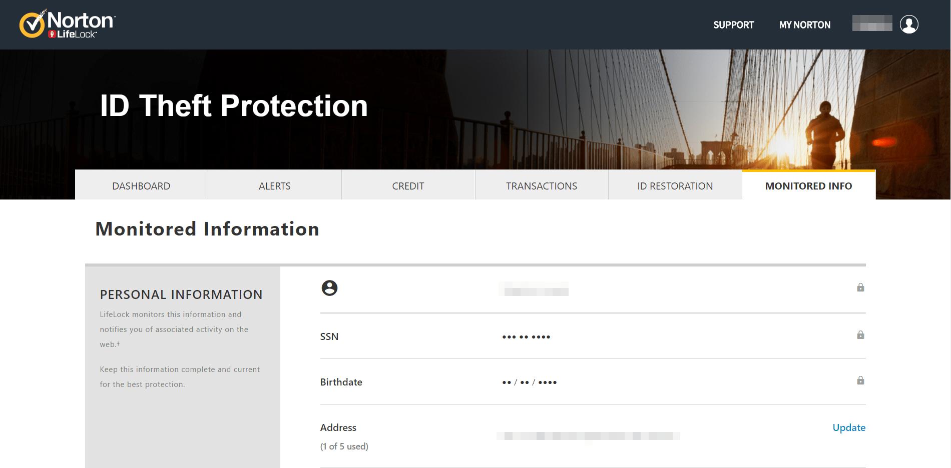 LifeLock Monitored Information