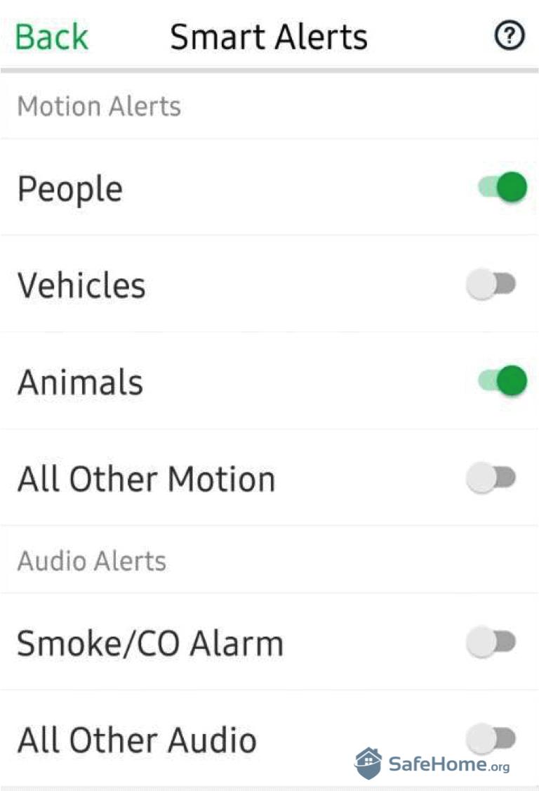 Arlo App Smart Alerts
