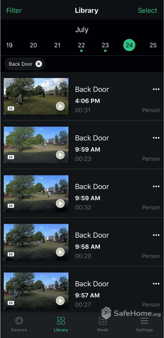 Arlo App Video Playback