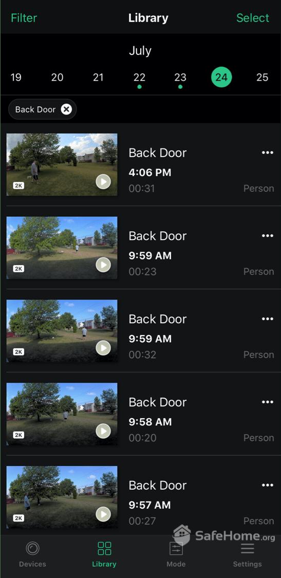 Arlo App Video Playback