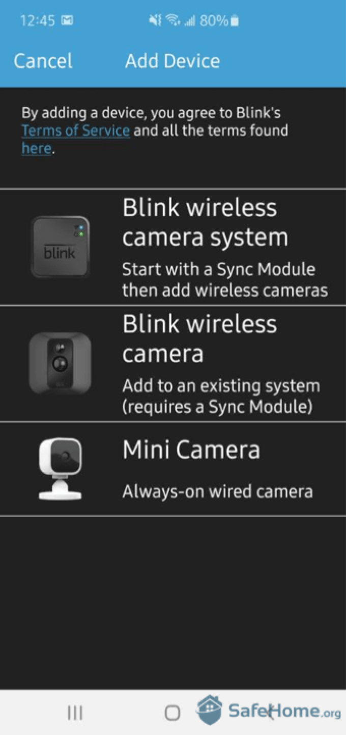 Blink App - Add Device