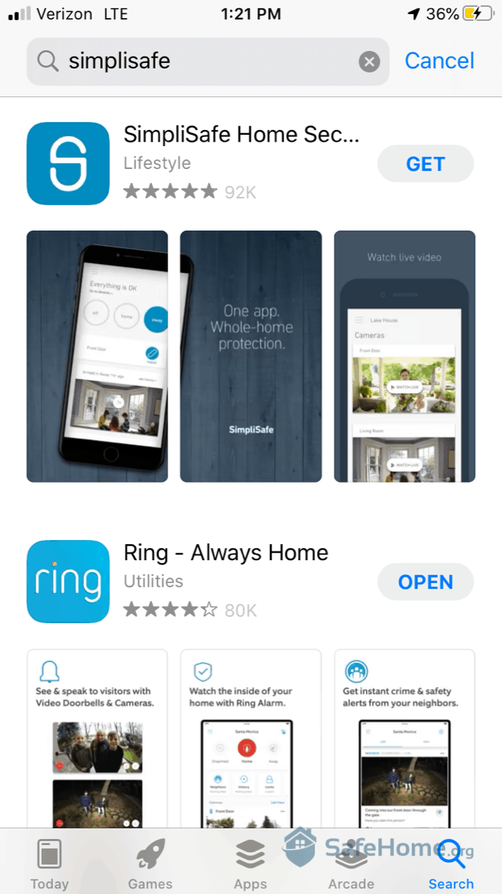 Downloading SimpliSafe App