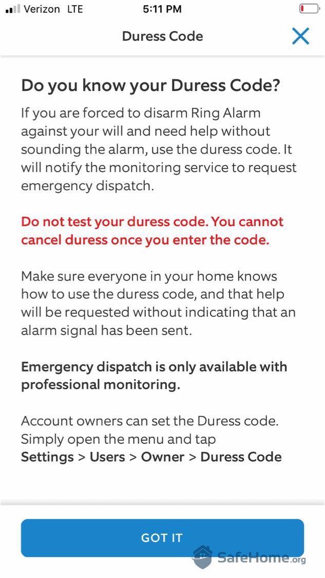 Ring Alarm Duress Code