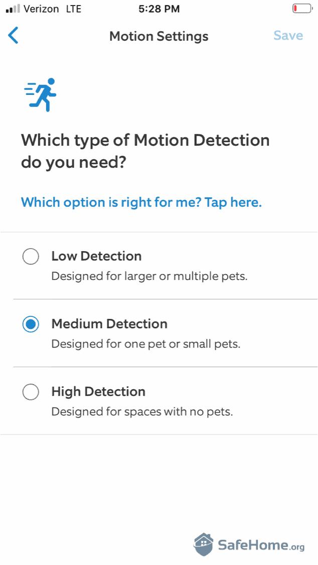 Ring Alarm Motion Settings