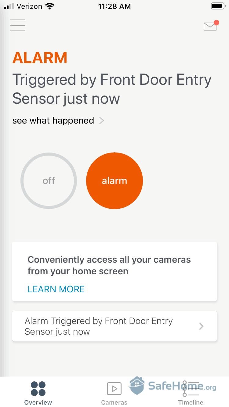 SimpliSafe Mobile App Alert