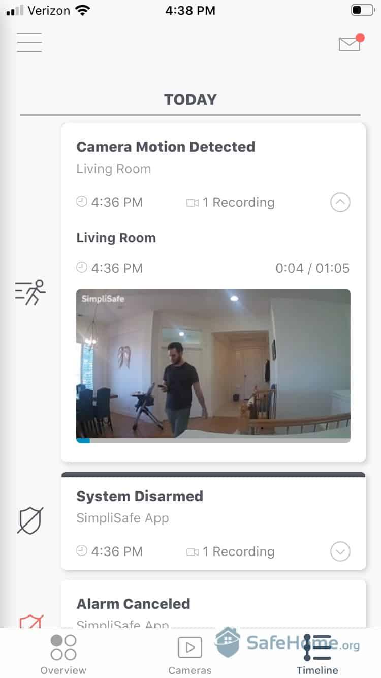 SimpliSafe App - Motion Detected