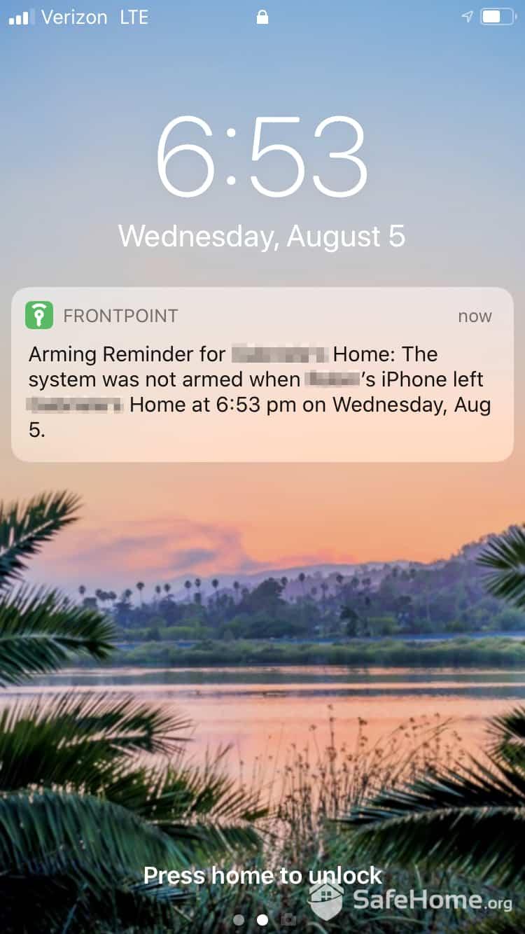 Frontpoint Arming Reminder