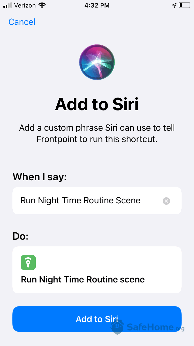 Frontpoint App - Connecting with Siri