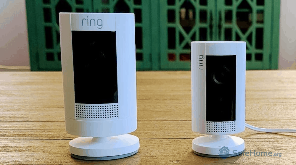 Ring Stick Up Cam (left) compared to Ring Indoor (right)