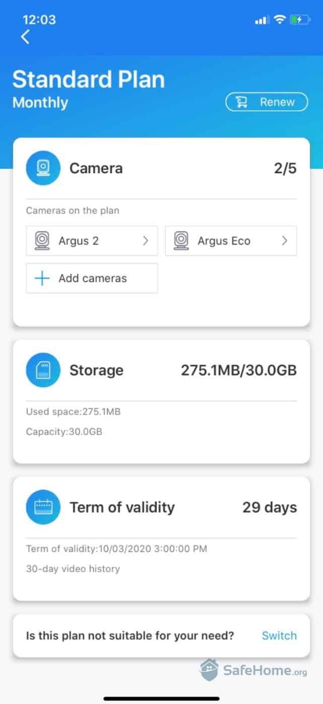 Argus Storage Plan Overview