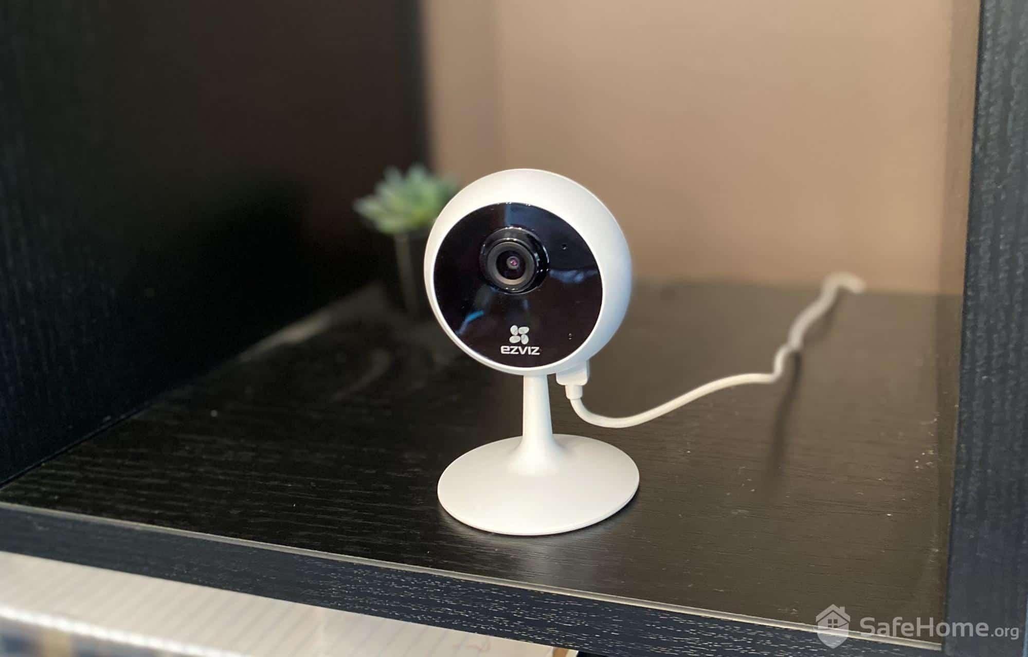 Ezviz Camera on bookshelf