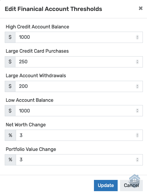 IDShield Financial Account Thresholds