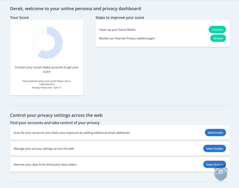 IDShield Privacy Dashboard