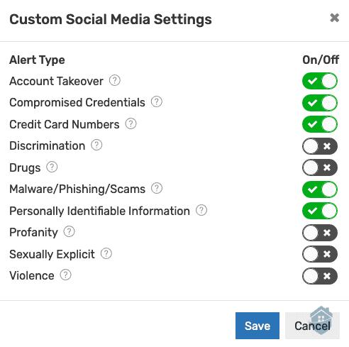 IDShield Social Media Settings