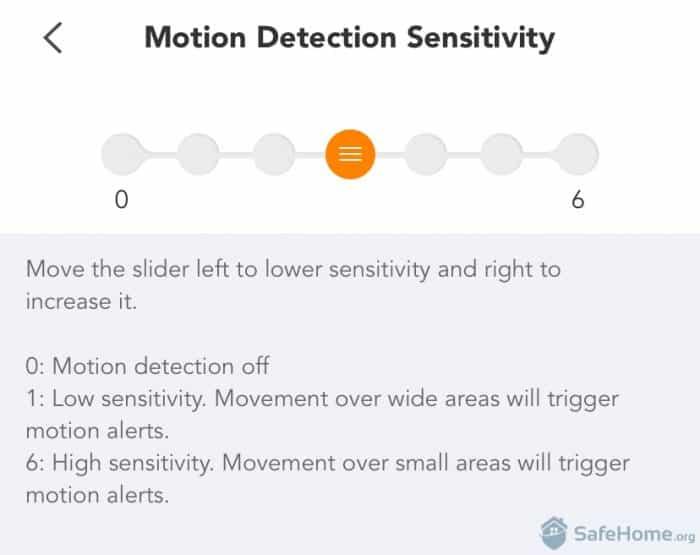 Motion detection sensitivity