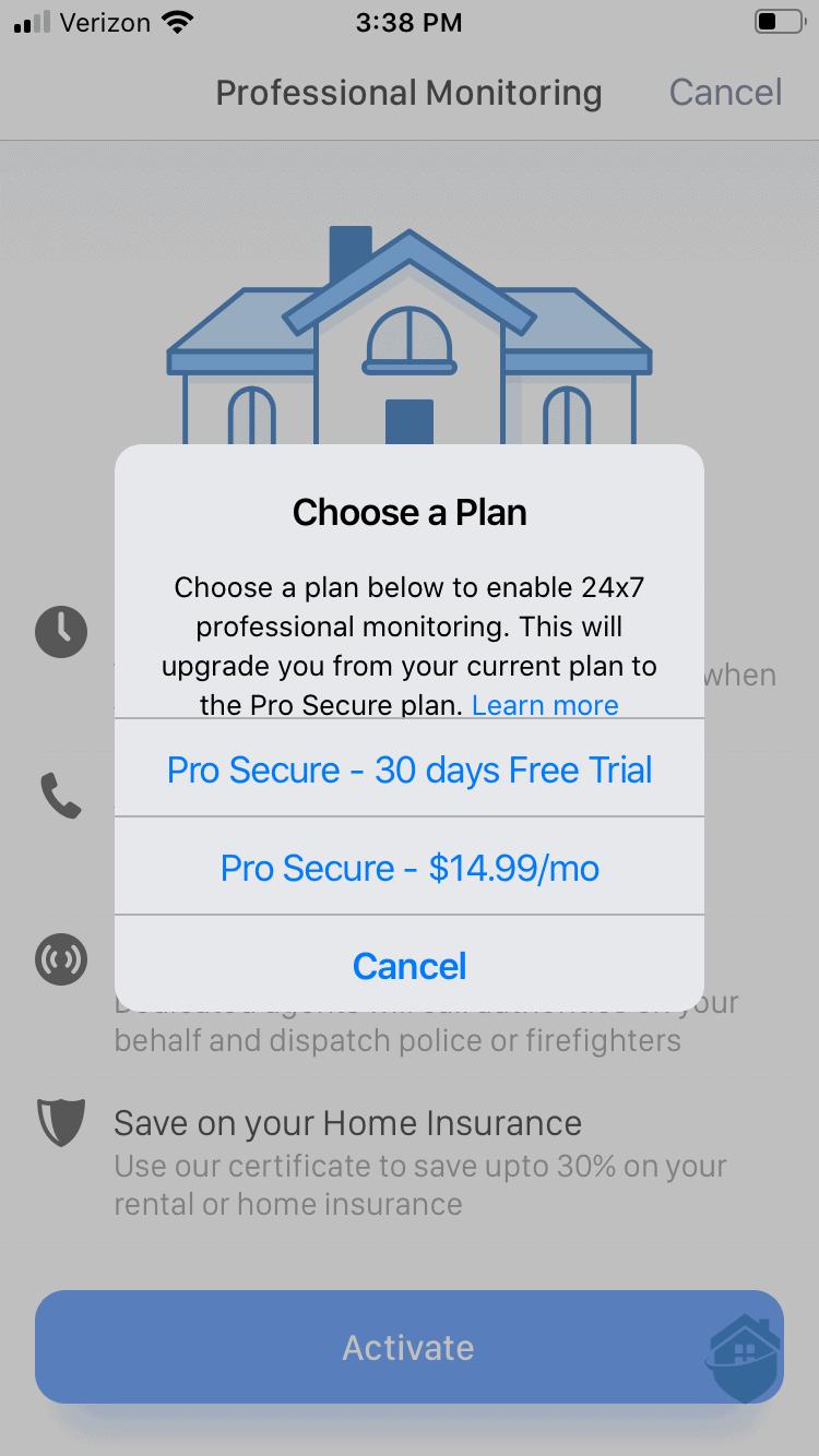 Ooma App - Choosing a Monitoring Plan