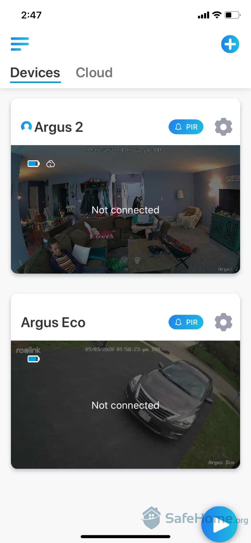 Reolink Mobile App Interface