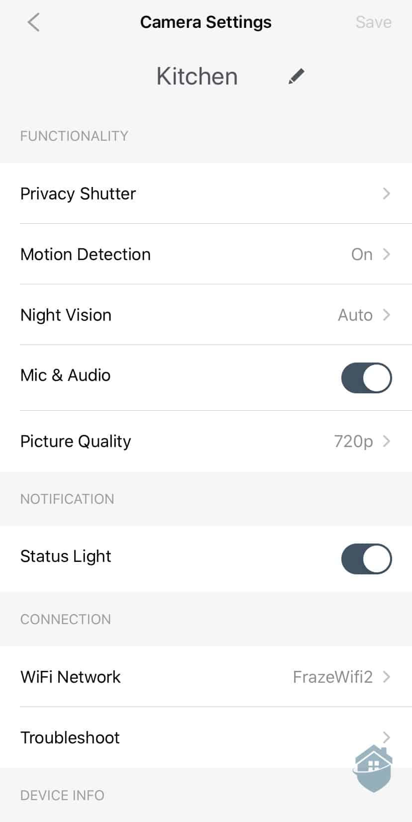 SimpliCam App Settings
