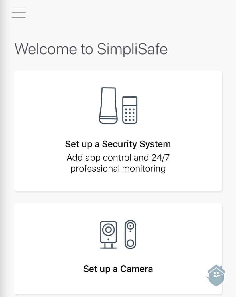 SimpliCam App Welcome Page