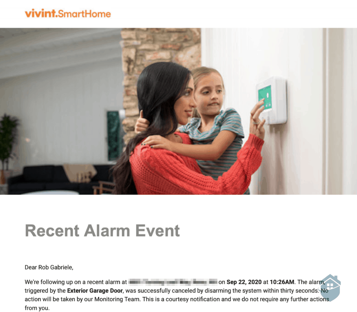 Vivint Recent Alarm Event