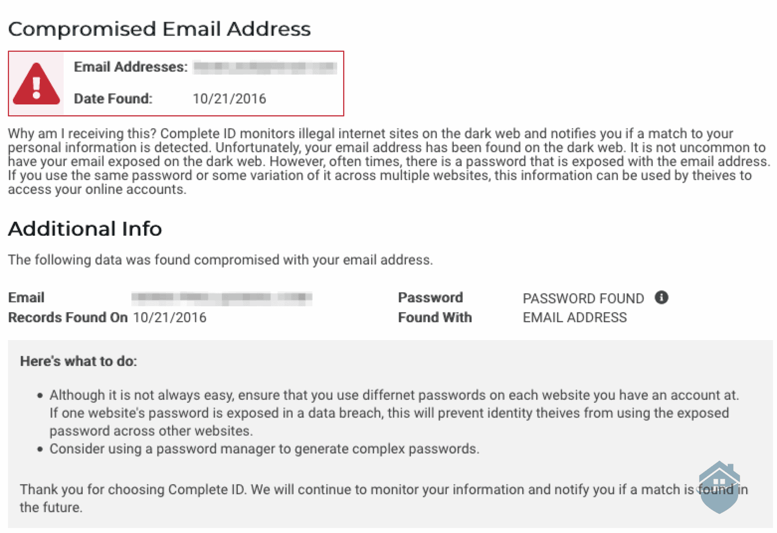 Complete ID Compromised Email