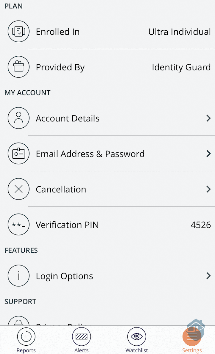 Identity Guard App Settings